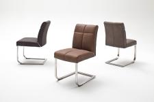 Jídelní židle FONTE_varianta B_imitace kůže strukturovaná_kaštan, hnědá, šedá_kovová aplikace mezi sedákem a opěradlem