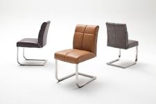 Jídelní židle FONTE_varianta B_imitace kůže hladká-sametový lesk_cognac, hnědá, šedá_kovová aplikace mezi sedákem a opěradlem