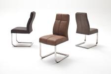 Jídelní židle FONTE_varianta C_imitace kůže strukturovaná_kaštan, hnědá, šedá