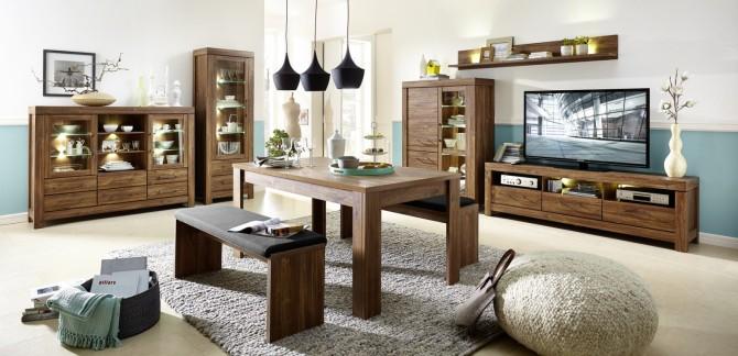 Obývací stěna GENT_návrh 2_ + typy 01 + 22 + jídelní stůl a 2x jídelní lavice, varianta