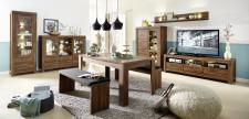 Obývací stěna GENT_návrh 2_ + typy 01 + 22 + jídelní stůl a 2x jídelní lavice
