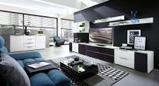 Obývací stěna MEDIAN_návrh 1_+sideboard 21, denní pohled