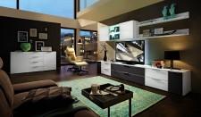 Obývací stěna MEDIAN_návrh 6_+sideboard 21, noční pohled