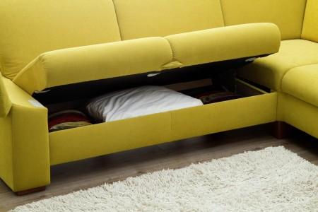 Sedací souprava ONTARIO 1031_komfortní lůžko s úložným prostorem_v látce Easy care Yellow