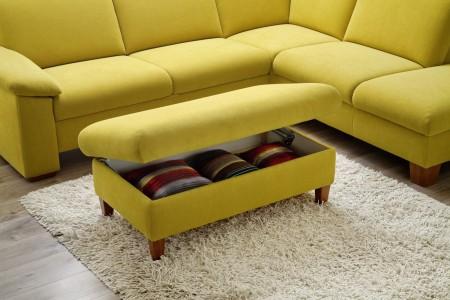 Sedací souprava ONTARIO 1031_taburet s úložným prostorem_v látce Easy care Yellow