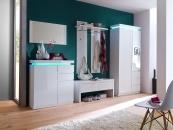 Předsíňový nábytek CORONA-sestava prvků_šatní skříň - lavice - skříňka na boty - zrcadlo - nástěnný panel