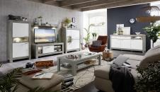 Obývací / jídelní program GRACE white_sestava 40 54 3W 83 + sideboard 21 + konf. stůl 29 54 3W 02_obr. 1