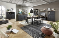 Obývací / jídelní nábytek JASPER graphit_ob. sestava 10 G9 GH 82 + typy 20 + 50 + 22 + konf. stůl 20 G9 GH 02 + jídelní stůl 20 G9 GH 01 + 2x lavice 20 G9 GH 03_obr. 1