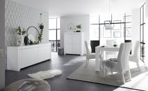 Volná sestava elementů CASTELLO bílý matný lak_sideboard 4dv. + highboard 4dv. + jídelní stůl 137 cm_obr. 1