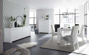 Jedálenské a obývacie zostavy CASTELLO biely lak