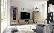 Obývací sestava PASADENA_dub Canyon_vitrina 1dv. + TV-element + highboard_obr. 4