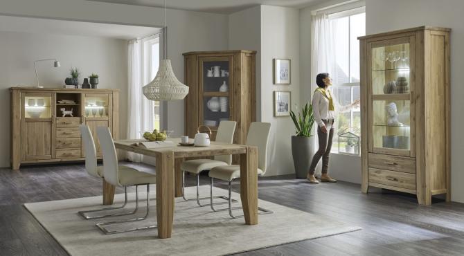 Obývací a jídelní nábytek LOFT_divoký dub Bianco masiv_obr. 1