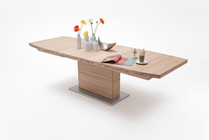 Jídelní stůl LORENZO_dub bělený masiv_rozložený_zaoblená stolní deska_obr. 1