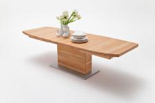 Jídelní stůl LORENZO_buk kořenový masiv_rozložený_zaoblená stolní deska_obr. 2