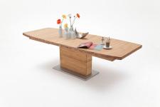 Jídelní stůl LORENZO_dub divoký masiv_rozložený_zaoblená stolní deska_obr. 1