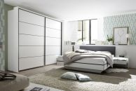 Ložnicový nábytek ICE_ šatní skříň s posuvnými dveřmi 2-dveřová s okrasným rámem + postelový komplet s nočními stolky _ obr. 1