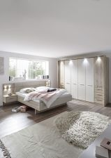 Ložnicový nábytek PORTO_ šatní skříň 6-ti dveřová s okrasným rámem a LED osvětlením + postelový komplet s nočními stolky a LED osvětlením_ obr. 2