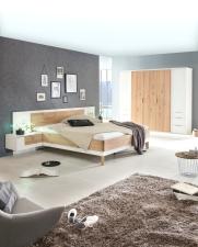 Ložnicový nábytek VALENCIA_5-dv. šatní skříň se zásuvkami + postel 180x200 cm + 2x noční stolek_možnost volitelného LED osvětlení_obr. 2