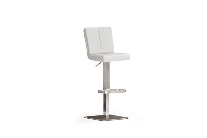 Barová židle MANTO_nerezová podnož_čtverec_bílá_obr. 1