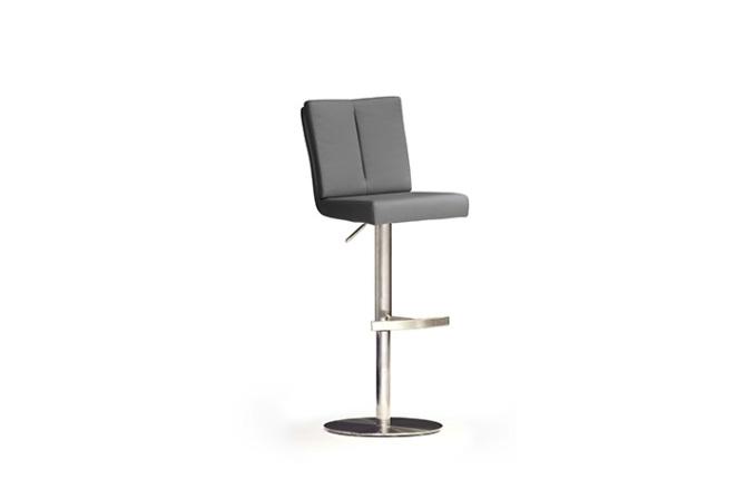 Barová židle MANTO_nerezová podnož_kruh_šedá_obr. 1