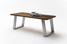 Jídelní stůl MAURO_dub schoko_podnoží broušená nerez_obr. 10