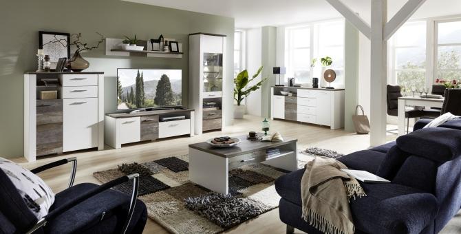 Obývací nábytek MESSINA_sestava 10 G4 WD 80 + sideboard typ 20 + konf. stůl typ 20 G4 WD 02 + jídelní stůl 20 G4 WD 01_obr. 1