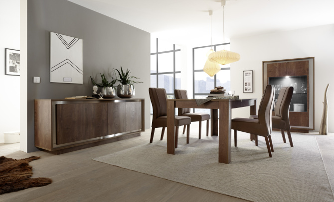 Jídelní sestava nábytku MONDE_sideboard_vitrina_jídelní stůl 180 cm_obr. 1