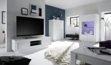 Obývací sestava MONDE_vitrina_TV-element_highboard_bílý matný lak - lineární tisk_obr. 1