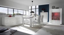 Jídelní nábytek MONDE_sideboard_highboard_vitrina_jídelní stůl 180 cm_bílý matný lak - květinový motiv_obr. 2