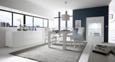 Jídelní nábytek MONDE_sideboard_vitrina_jídelní stůl 180 cm_bílý matný lak - lineární tisk_obr. 3