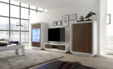 Obývací sestava MONDE_vitrina_TV-element_highboard_bílý matný lak - dub cognac_obr. 2