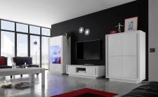Obývací sestava MONDE_vitrina_TV-element_highboard_bílý matný lak_obr. 3
