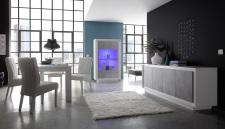 Jídelní nábytek MONDE_sideboard_vitrina_jídelní stůl 180 cm_bílý matný lak - beton_obr. 4