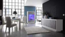 Jídelní nábytek MONDE_sideboard_vitrina_jídelní stůl 180 cm_bílý matný lak - beton_obr. 1