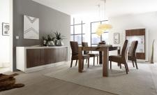 Jídelní nábytek MONDE_sideboard_vitrina_jídelní stůl 180 cm_bílý matný lak - dub cognac_obr. 3