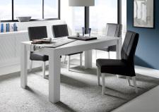 Jídelní stůl MONDE_bílý matný lak_s židlemi anthrazit_obr. 5
