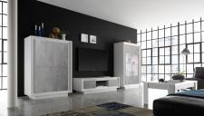 Obývací sestava MONDE_vitrina_TV-element_highboard_bílý matný lak - beton_obr. 28