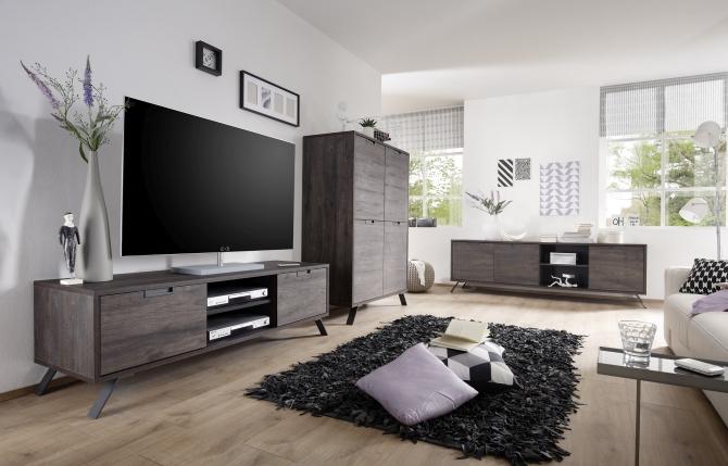 MONZA_obývací pokoj_TV-element+highboard+lowboard