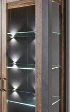 Obývací a jídelní nábytek CARTAGO _ detail bočního prosklení a LED osvětlení_ obr. 14