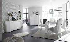 Volná sestava elementů CASTELLO bílý matný lak_sideboard 3dv. + highboard 4dv. + jídelní stůl 137 cm_obr. 4