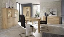 Obývací a jídelní nábytek DENVER_typy 870+158+818+T71_dub bianco masiv_obr. 1