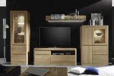 Obývací nábytek DENVER_sestava 953_čelní pohled_dub bianco masiv