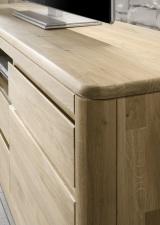 Obývací a jídelní nábytek DENVER_detail provedení horních desek_dub bianco masiv
