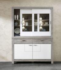 Obývací a jídelní nábytek GRACE white _ sestava 40 54 3W 84_buffet - příborník_ čelní pohled_ nastevřený_ obr. 9