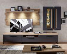 Obývací a jídelní nábytek LAMIA graphite _sestava 10 J4 GH 80_ čelní pohled _obr. 5