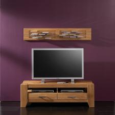 Maivní nábytek LOFT_TV lowboard typ 19 a CD-DVD panel typ 36_divoký dub natur masiv_foto s dekorací