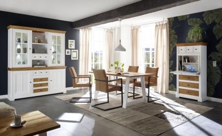 Obývací a jídelní nábytek PALLADIUM_příborník široký s vitrinou 40 11 05 + sektetář 47 + jídelní stůl 60 + 4 ks jídelní křesla_LED osvětlení volitelné_obr. 1
