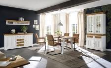 Obývací a jídelní nábytek PALLADIUM_sideboard 49 + závěsná police 69 + příborník úzký s vitrinou 40 11 04 + jídelní stůl 60 + 4 ks jídelní křesla_LED osvětlení volitelné_obr. 2