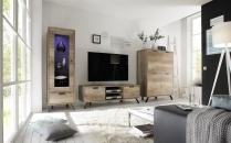 Obývací sestava PASADENA_dub Canyon_vitrina 1dv. + TV-element + highboard_obr. 1