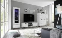 Obývací sestava PASADENA_bílý dub_vitrina 1dv. + TV-element + highboard_obr. 1